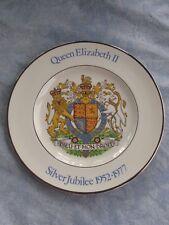 Silver Jubilee Plate Queen Elizabeth Prince Phillip 1977 PLATE Wood & Sons