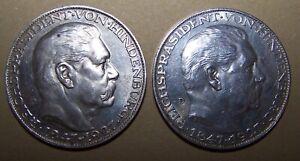 2 Stück Weimarer Silbermedaille 1927  Hindenburg zum 80. Geburtstag ca25g/900