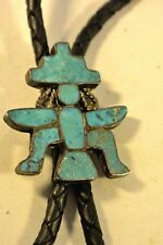 Old BLUE GEM TURQUOISE Zuni  KNIFEWING BOLO TIE Sterling Silver (Friction Clasp)