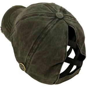 C.C Ponytail Criss Cross Messy Buns Ponycaps Baseball Cap Hat Button Hook Black