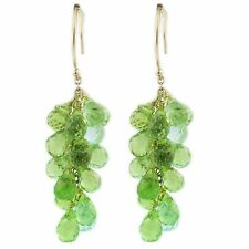 GRAPE PERIDOT DANGLING GREEN EARRING DROP 14K YELLOW GOLD GREEN STONE CHANDELIER