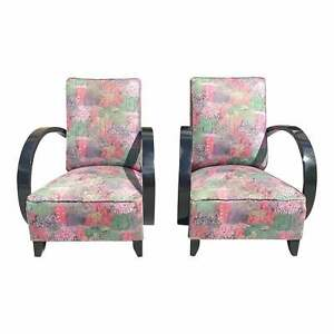 Classic Pair of French Art Deco Club Chairs 1940s.