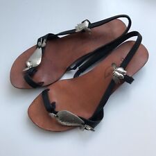 Rachel Comey Black Slingbacks Leather Sandal Size 6, Hand Made In Peru