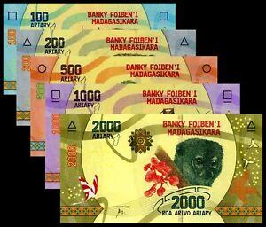 ♦MADAGASCAR♦Série de 5 billets♦5 notes set♦100 à 2000 Ariary♦2017♦NEUFS/UNC♦