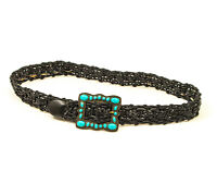 EUC Braided Faux Leather Black Belt with Faux Turquoise Buckle