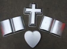 Lot 4 VTG Book Bible Cross Heart Love Jesus Cake Aluminum Pan Mold Wilton Korea
