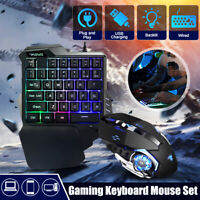RGB LED Mini One Hand Gaming 35 keys Keyboard USB Wired Mouse 35 key F/ Computer