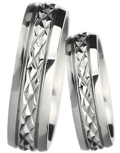 New His And Hers Diamond Cut Titanium Wedding Engagement Ring Set