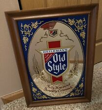 Vintage Old Style Beer Sign Mirror G. Heileman Wood Framed Glass Bar LaCrosse Wi