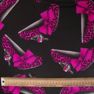PINK LEOPARD SHOES PRINT LARGE FABRIC REMNANT POLYESTER 100cms X 96CMS