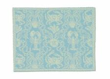 """Heritage Lace Crab Damask 14""""x20"""" Sea Blue Placemat"""