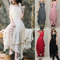 Womens Boho Irregular Lace Sexy Double Layered Solid Ruffled Trimming Long Dress