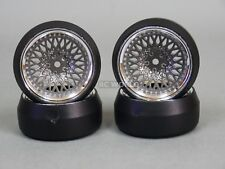 RC 1/10 DRIFT WHEELS Package 0 Degree 6MM Offset GUN METAL MESH W/ CHROME Lip