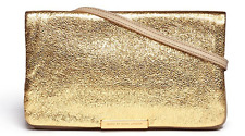MARC JACOBS RAVEHEART metallic rose gold crossbody fold over clutch bag