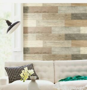 Distressed Rustic Brown Tan Taupe Shiplap Wood Planks Peel and Stick Wall Decals