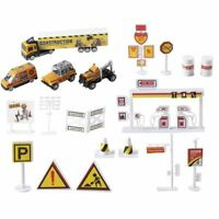 19-Piece Engineering Toy Set, Construction Site with Big Trucks, Towing Vehicle