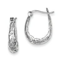 925 Sterling Silver Filigree Oval Polished Hinged Post Hoop Earrings