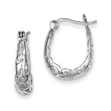 925 Sterling Silver Filigree Oval Polished Hinged Post Hoop Earrings