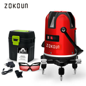 ZOKOUN 5 Red Lines Rotary Laser Level Self-leveling Horizontal Vertical Cross