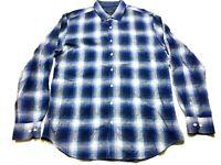 Bugatchi Mens Blue Plaid Button Front Shirt Size XL Shaped Fit