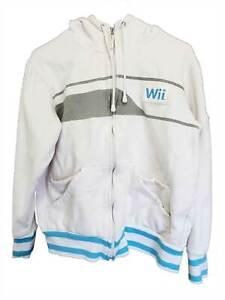 Nintendo Brand Wii Sports Track Jacket White Blue Athletic Full Zip Medium 2007