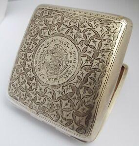 FINE CLEAN HEAVY DECORATIVE ENGLISH ANTIQUE 1907 STERLING SILVER CIGARETTE CASE