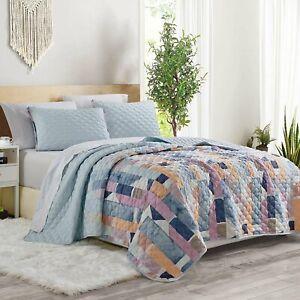 3pcs Queen Size Bedspread Coverlet Quilt Set Plaid Patchwork Geometrical Pattern
