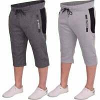 Mens D Rock Long Cargo Combat Fleece 3/4 Length Shorts Casual Gym Zip Pockets