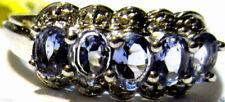 PURPLE TANZANITE OVAL & DIAMOND 5-STONE BAND RING, SILVER, SIZE 6, 0.81(TCW)