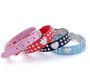 Diamante PU Leather Dog Collar Cat Pet Heart Rhinestone Crystal UK Seller DC1