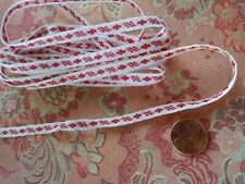 Tiny Vintage RED  Embroidered RIBBON Lace Trim  3.5 yards narrow