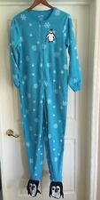 NEW•Nick & Nora >1 Pc Blue Fleece Footed Pajamas Womens Size Small & Large
