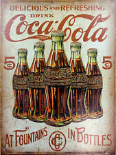 Coke Bottles  Tin Metal Sign Man Cave, Shed-Garage & Bar