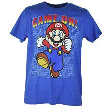 Super Mario Game On Nintendo Video Game Graphic Heather Blue Tshirt Tee