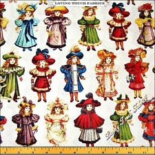 "BLUE HILL ""VICTORIAN PAPER DOLLS"" 8019-012 WHITE FABRIC PRICED @ 1/2 YD"