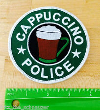 CAPPUCCINO POLICE novelty joke EMBROIDERED IRON-ON PATCH new COFFEE DRINKER