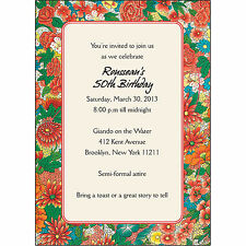 25 Personalized Birthday Party Invitations  - BP-015 Decorative Floral Design
