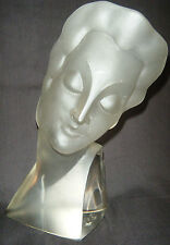 Czech Art Deco EXCEEDINGLY RARE Ingrid Glass Line Crystal Female BUST 1930s