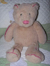 "JellyCat Tan Beige w Pink Plaid Plush Floppy Stuffed Piper Teddy Bear Toy 15"" EU"