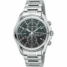 New Seiko SSC001 Solar Alarm Chronograph Stainless Steel Black Dial Men's Watch