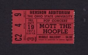 Original 1973 Mott The Hoople Aerosmith Trower Concert Ticket Stub Ohio State U