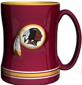 Washington Redskins 14 oz Team Color Sculpted Logo Relief Coffee Mug  - NEW