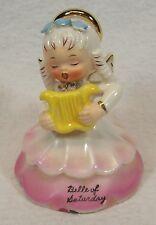 Napco Belle of Saturday 1956 Angel of the Week Series Figurine w/Harp