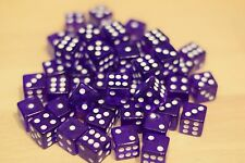 Purple ACRYLIC DICE 16mm (50 PACK) Transparent RPG Gaming Home Casino Dice d6