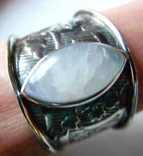 Weißer Labradorit-Ring, 925er Sil., Gr.59