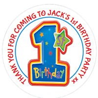 48 Personalised 1st Birthday Party Bag Stickers Sweet Bag Seals 40mm Cone Labels