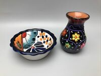 Mexico Clay Pottery Small Bowl and Bud Vase Set Hand Painted Folk Art
