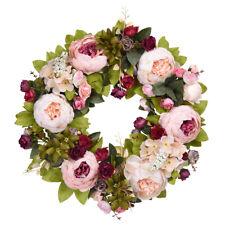 Artificial Peony Wreath Vintage Garland Hanging Flower Wreath Door Wall Decor