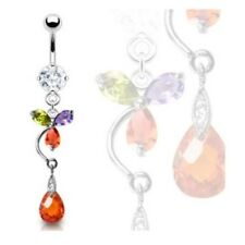 MULTI COLORED CZ FLOWER BELLY RING TEAR DROP NAVEL BUTTON PIERCING JEWELRY B254