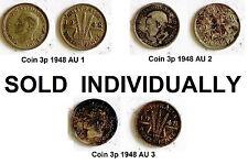 Choice KING GEORGE VI 1948 Australia THREE PENCE Pre-Decimal 3p Silver Coin KGVI